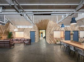 Wooden studio set in a creative village workspace, image 1