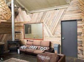 Wooden studio set in a creative village workspace, image 1