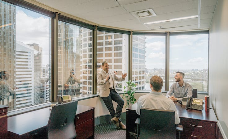 Collaborative 4-person private workspace with outstanding views over Brisbane's CBD, serviced office at Santos Place, image 1