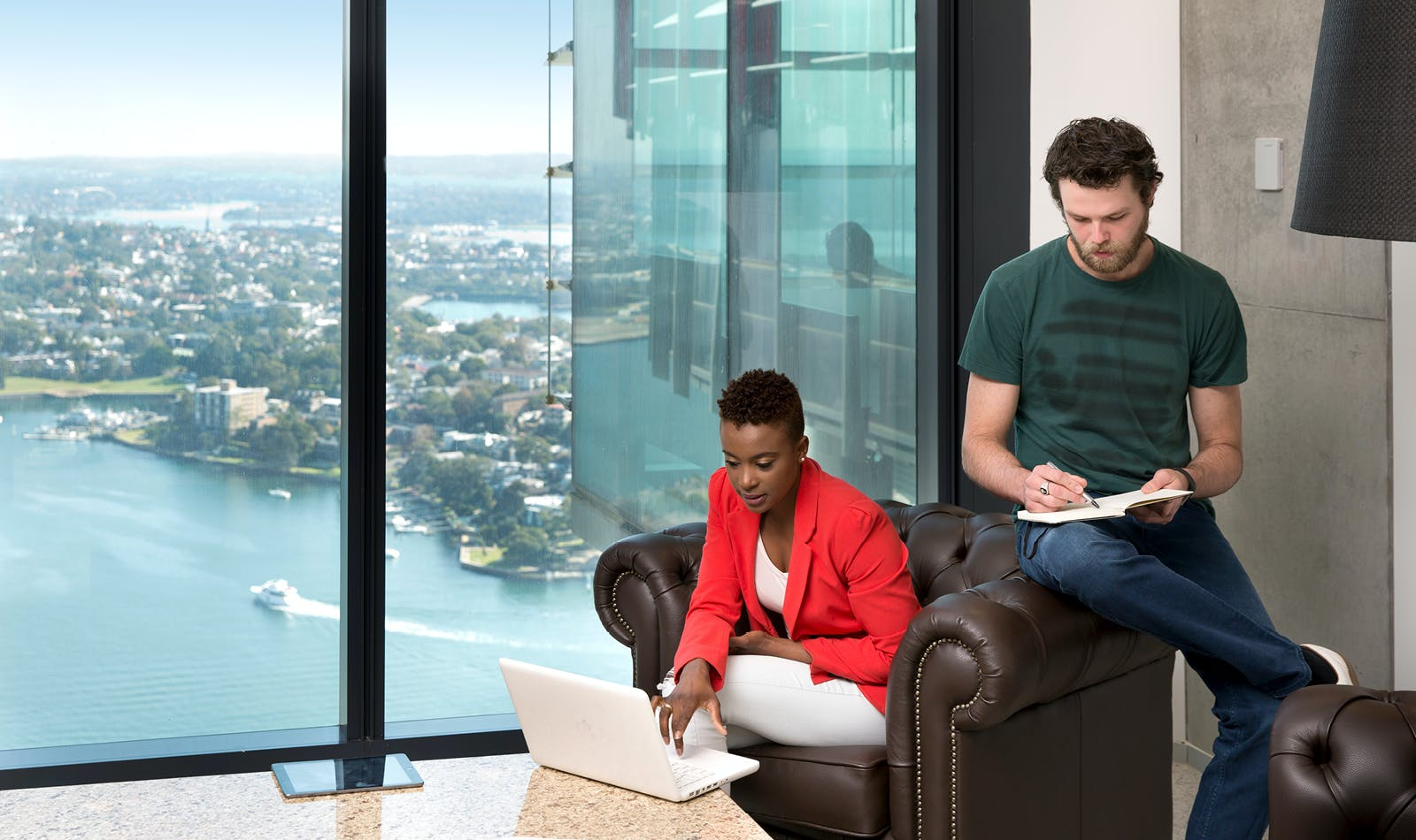 Modern workspace for 3 people with spectacular views of Sydney CBD, serviced office at Tower One Barangaroo International Towers Sydney, image 1