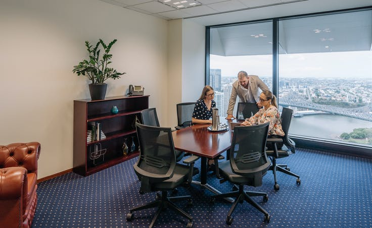 Collaborative 4 person private workspace with breath-taking views over the Brisbane river , serviced office at Riparian Plaza, image 4
